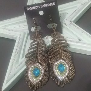 New- Peacock Feather Earrings